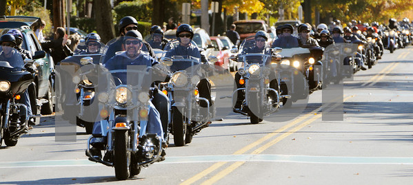 Salem:<br /> Motorcycles roar down Lafayette Street during the 21st Annual Witch Ride motorcycle run which draws thousands of bikers to Salem. The annual Halloween motorcycle run is to benefit the Muscular Dystrophy Association.<br /> Photo by Ken Yuszkus/Salem News, Sunday October 25, 2009.