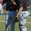 Beverly:<br /> Beverly's pitcher Dan Cashman speaks with catcher Joe Wioncek at the pitcher's mound during the 3rd inning at the Gloucester at Beverly Division 2 North playoff quarterfinal baseball game.<br /> Photo by Ken Yuszkus/Salem News, Monday, June 6, 2011.