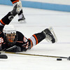 North Billerica:<br /> Connor Irving reaches out for the puck while down on the ice during the Beverly High School boys hockey game in Division 2 North semifinals vs Tewksbury at the Chelmsford Forum hockey rink.<br /> Photo by Ken Yuszkus/Salem News, Tuesday March 8, 2011.