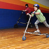 Beverly:<br /> Payton James of Danvers, in the foreground, and Melanie Blum of Atkinson, NH, in background, ride the Trikke carving vehicles at the Roller Palace.<br /> Photo by Ken Yuszkus/Salem News, Sunday, March 7, 2010.