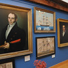 """Marblehead:<br /> Various paintings are part of the new exhibit, """"Marblehead Ship Captains and the Ships in Which They Sailed"""". The exhibit celebrates Marblehead's maritime traditions, salutes her sea captains, and displays portraits and models of the vessels they sailed. The portrait on the left is Captain John Barker Lindsey.<br /> Photo by Ken Yuszkus/Salem News, Tuesday, November 8, 2011."""