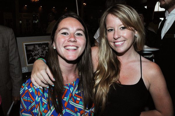 Danvers:<br /> Esme Flynn, left, and Alecia Carey attend The Frates Friends and Family Night: A Fundraiser To Benefit The Pete Frates #3 Fund. Pete Frates, a former St. John's Prep and Boston College baseball star from Beverly stricken with ALS<br /> Photo by Ken Yuszkus/Salem News, Wednesday, June 27,  2012.