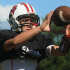 Salem:<br /> Receiver Joey Dihn and the Salem High football team are practicing for their big game against Saugus on Friday.<br /> Photo by Ken Yuszkus/Salem News, Wednesday,  September 15, 2010.