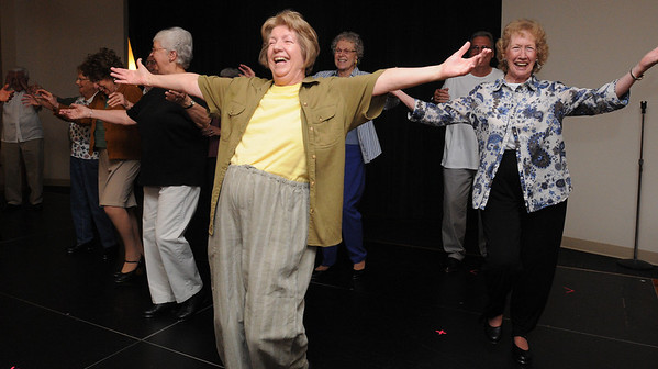 Peabody:<br /> From left in front, Jackie Kusch, Joanne Avery, and Natalie Goodwin practice dance steps along with the other residents in preparation for the upcoming 10-year anniversary festivities this week.<br /> Photo by Ken Yuszkus/Salem News, Tuesday, June 1, 2010.