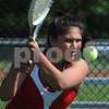 Topsfield:<br /> Masconomet's Mia Farnham keeps an eye on her return ball. Masconomet played Lincoln-Sudbury in Division 1 North playoff quarterfinals in girls tennis.<br /> Photo by Ken Yuszkus/Salem News,  Tuesday, June 2, 2009.
