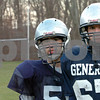 Hamilton:<br /> From left, Dave and Paul Littlefield, brothers that are both on the Hamilton-Wenham High School football team are linemen starting at the Thanksgiving Day game.  <br /> Photo by Ken Yuszkus/Salem News, Monday November 24, 2008.