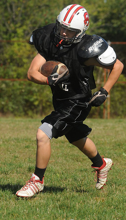 Salem:<br /> Max Feeley, Salem High School running back at practice.<br /> Photo by Ken Yuszkus/Salem News, Wednesday,  September 15, 2010.
