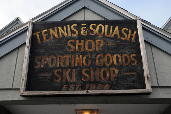 Wenham:<br /> The sign over the front door of The Sports Stop in Wenham.<br /> Photo by Ken Yuszkus/Salem News, Friday, January 7, 2011.