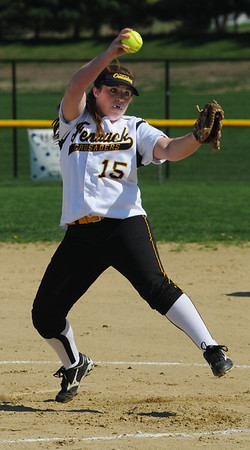 Danvers:<br /> Bishop Fenwick's Taylor Ahearn pitches at the St. Mary's Lynn at Bishop Fenwick softball game on Monday afternoon.<br /> Photo by Ken Yuszkus/Salem News, Monday, May 2, 2011.