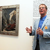 Salem:<br /> Antony Penrose, director of the Farley Farm House  in England, speaks about Man Ray's LeLogis d'artiste ( The Artist's Home ) about 1931 which is to the left. It is in the new Man Ray exhibit at the Peabody Essex Museum<br /> Photo by Ken Yuszkus/Salem News, Thursday, June 9, 2011.