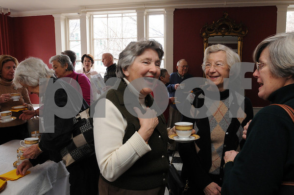 Salem:<br /> From left, Connie Gourdeau of Wenham, Mary Ellen Otto of Manchester By the Sea, and Bonnie French of Hampton Falls, NH, talk while drinking beef broth at the Hamilton Hall before the lecture begins.<br /> Photo by Ken Yuszkus/Salem News, Thursday,  February 19, 2009