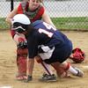 Middleton:<br /> North Shore Tech/Essex Aggie's Kathryn Brebnon is out at home plate at the North Shore Tech/Essex Aggie softball game vs. Mystic Valley.<br /> Photo by Ken Yuszkus/Salem News, Monday, May 9, 2011.