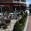 Salem:<br /> The tables are setup outside the Tavern in the square.<br /> Photo by Ken Yuszkus/Salem News, Thursday, April 29, 2010.