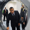 Peabody:<br /> Governor Patrick looks at a component for a baggage scanner while touring Analogic Corporation. He was at Analogic Corporation to make an announcement relative to job training. <br /> Photo by Ken Yuszkus/Salem News, Tuesday, April 27, 2010.