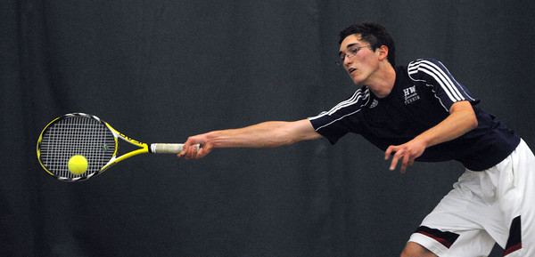 Beverly:<br /> Hamilton-Wenham's Ben Chansky stretches to reach the ball while playing in a singles match in the state tournament Division 1 North quarterfinals against Stoneham.<br /> Photo by Ken Yuszkus/Salem News, Monday, June 4, 2012.