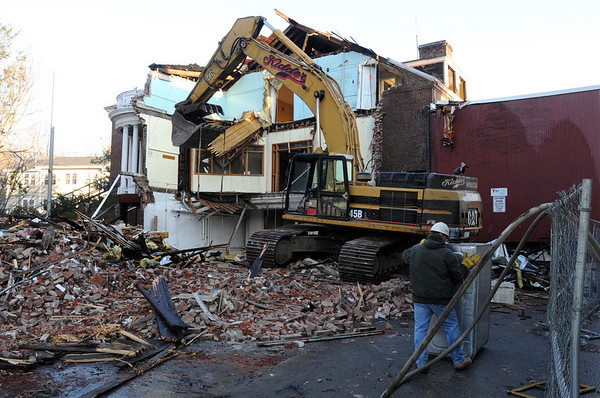 "Marblehead:<br /> Demolishing the old ""Y"" in Marblehead on Tuesday afternoon.<br /> Photo by Ken Yuszkus/Salem News, Tuesday, January 4, 2011."