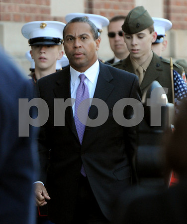 Beverly:<br /> Governor Deval Patrick arrives at St. Mary Star of the Sea Church for the funeral of Stephen R. Fortunato, who died in Afghanistan.<br /> Photo by Ken Yuszkus/Salem News, Friday, October 24, 2008.
