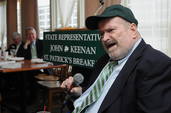 Salem:<br /> Sen. Fred Berry, who is retiring, was the guest of honor at John Keenan's annual St. Patrick's breakfast.<br /> Photo by Ken Yuszkus/Salem News, Friday,  March 16, 2012.
