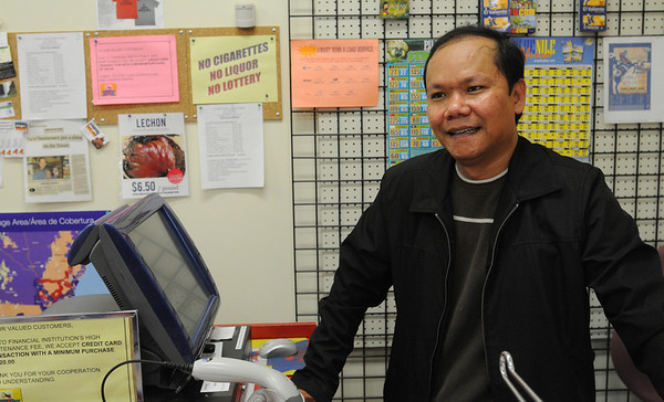 Danvers:<br /> Dante Perinal of J-Mart Asian Food Store speaks about the water main break which affected his business.<br /> Photo by Ken Yuszkus/Salem News, Wednesday,  December 1, 2010.
