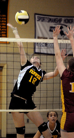 Peabody:<br /> Kaela Murphy, of Bishop Fenwick, belts the ball over the net during the Cardinal Spellman at Bishop Fenwick girls volleyball game on Tuesday.<br /> Photo by Ken Yuszkus/Salem News, Tuesday,  October 5, 2010.