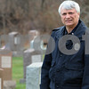 Beverly:<br /> Beverly Patrolman Gene Bettencourt stands in St. Mary's Cemetery near the area where a coyote was spotted. He drove his cruiser between a woman and a coyote that he said was about to attack her.  <br /> Photo by Ken Yuszkus/Salem News, Wednesday November 26, 2008.