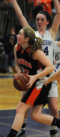 Wilmington:<br /> Ipswich's Julia Davis looks up before shooting at the Ipswich vs Stoneham girls basketball game in the Division 3 North semifinals at Wilmington High School.<br /> Photo by Ken Yuszkus/Salem News, Thursday March 10, 2011.