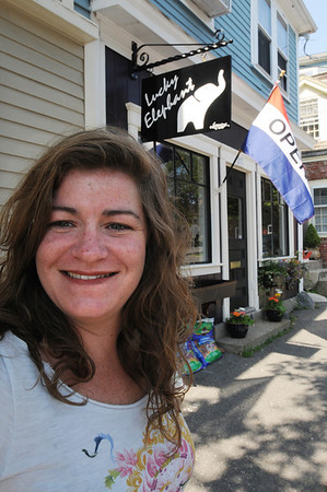Marblehead:<br /> Megan Holst is the owner of the The Lucky Elephant which opened Friday.<br /> Photo by Ken Yuszkus/Salem News, Monday, July 4, 2011.