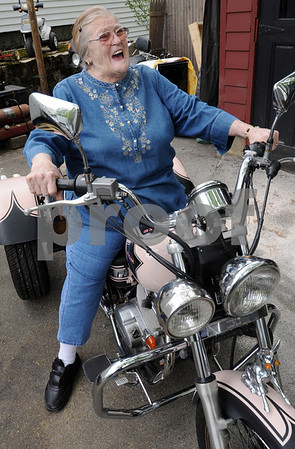 Danvers:<br /> At 81, Peg Blais survived a motorcycle crash last October that nearly claimed her life. She gets back on her motorcycle for the first time since the accident.<br /> Photo by Ken Yuszkus/Salem News, Monday May 4, 2009.
