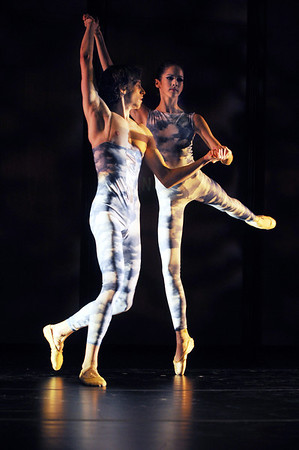 """Beverly:<br /> Trevor Felixbrod and Brittany Stone are two of five dancers performing """"The Eighth Layer"""" on the Rose Performance Hall stage at Endicott College. Boston Ballet, Endicott's affiliate, presented a three-part lecture/demonstration event on ballet.<br /> Photo by Ken Yuszkus/Salem News, Thursday, January 26, 2012."""