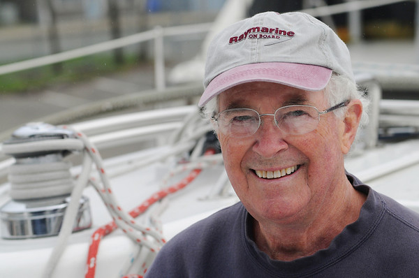 Beverly:<br /> Paul Lareau of Nashua, NH., has a nest of five hatchlings and the mother bird, on the bow of his 40 foot sailboat.<br /> Photo by Ken Yuszkus/Salem News, Wednesday, May 11, 2011.