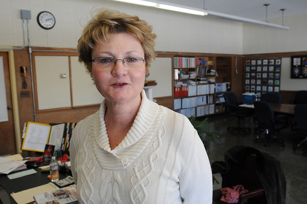 Beverly:<br /> Marie Galinski, the assistant superintendent, will soon be the new Beverly superintendent. She is standing in her office.<br /> Photo by Ken Yuszkus/Salem News, Friday, February 19, 2010.