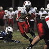 Peabody:<br /> Salem's Christian Dunston runs the ball during the Salem at Peabody football game at Coley Lee Field Friday night.<br /> Photo by Ken Yuszkus/Salem News, Friday, September 9, 2011.