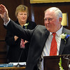 Beverly:<br /> Mayor Bill Scanlon acknowledges the applause as he is about to start his speech during the inaugural ceremony in the council chamber of the city hall.<br /> Photo by Ken Yuszkus/Salem News, Monday, January 4, 2010