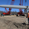 Ipswich:<br /> The first of three blades for construction of the wind turbine are off loaded from the truck.<br /> Photo by Ken Yuszkus/Salem News, Tuesday, March 29, 2011.