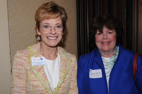 Peabody:<br /> Cynthia McGurren of Salem State University, left, and Christine Sullivan of the Enterprise Center at Salem State University, at the North Shore 100 Breakfast.The Economic & Public Policy Breakfast Forum was held at the  Peabody Marriott Hotel.<br /> Photo by Ken Yuszkus/Salem News, Wednesday, April 6, 2011.