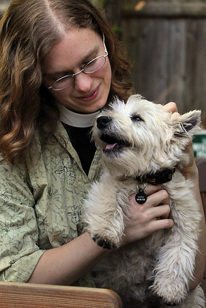 Danvers:<br /> Rev. Thea Keith- Lucas holds Pippin, who is an 11 month old westie dog. Rev. Thea Keith- Lucas is launching a new Perfect Paws pet ministry.<br /> Photo by Ken Yuszkus/Salem News, Tuesday, May 4, 2010.