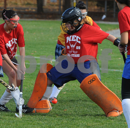 Danvers:<br /> Kelly Gillis, of Swampscott, goalie for Squad Two, protects her goal during the Northeastern Conference all-stars field hockey game at Danvers high School.<br /> Photo by Ken Yuszkus/Salem News, Sunday November 1, 2009.