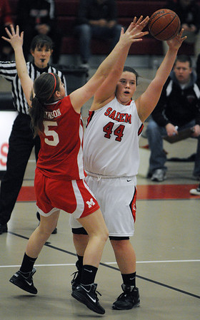 Salem:<br /> Salem's Jaclyn Panneton passes the ball during the Melose at Salem High girls basketball state tournament game.<br /> Photo by Ken Yuszkus/Salem News, Tuesday,  February 28, 2012.