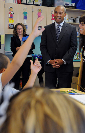 """Salem:<br /> Gov. Deval Patrick stops in on a 3rd grade class during his visit to Carlton Elementary Thursday afternoon to highlight their new """"innovation school"""" model. Principal Jean-Marie Kahn is on the left.<br /> Photo by Ken Yuszkus/The Salem News, Thursday, September 13, 2012."""
