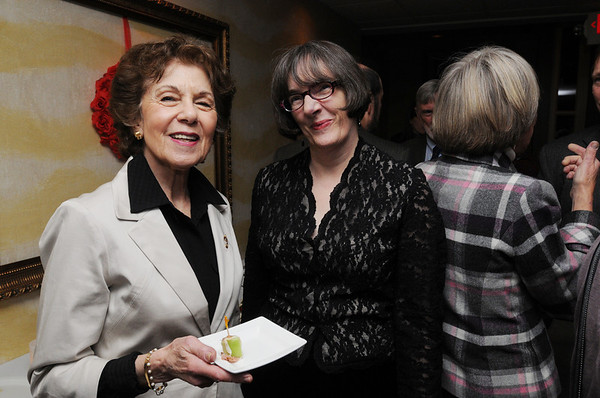 Salem:<br /> Jeanne Scott, left, and Barbara Timmons, both of Salem, attend the Midwinter Cocktail Party to benefit Salem Athenaeum held at the Adriatic Restaurant on Tuesday evening.<br /> Photo by Ken Yuszkus/Salem News, Tuesday, February 8, 2011.