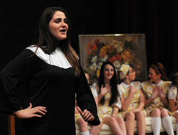 Salem:<br /> Victoria Kako, who plays Maria, rehearses on stage at the Collins Middle School for the school's presentation of the The Sound of Music. The performances are Thursday and Friday, March 8 and 9, at 7 pm and Sunday, March 10, at 2 pm. <br /> Photo by Ken Yuszkus/Salem News, Tuesday,  March 6, 2012.