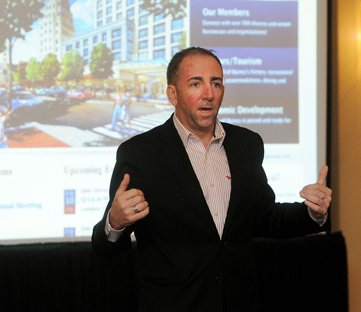 Peabody:<br /> Mark Carey speaks during one of the sessions at the Convention and Visitor's Bureau Annual Tourism Summit held at the Peabody Marriott on Friday.<br /> Photo by Ken Yuszkus/Salem News, Friday, February 3, 2012.