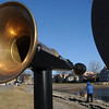 Salem:<br /> The brass speaking horn is part of the new National Park Service exhibit on world trade at Derby Wharf.<br /> Photo by Ken Yuszkus/Salem Newss, Wednesday,  December 8, 2010.