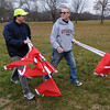Hamilton:<br /> Jeff Pacione, left, and Norm Hanna, both on the race committee, walk the race course and place flags for the upcoming 2nd annual 'Gabe's Run', to be run in memory of former Hamilton-Wenham running star Gabe Pacione.<br /> Photo by Ken Yuszkus/Salem News, Sunday November 22, 2009.