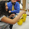Peabody:<br /> Sophia Otero shows her science project, Electrical Energy Through Fruit and Vegetable, to Joe Anastasi, of Peabody Light, who is one of the judges at the fifth-grade science fair at Welch Elementary School. <br /> Photo by Ken Yuszkus/Salem News, Tuesday, April 5, 2011.