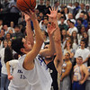 Danvers:<br /> Danvers' Eric Martin shoots for his net during the Winthrop at Danvers bys basketball game.<br /> Photo by Ken Yuszkus/Salem News, Monday, February 13, 2012.