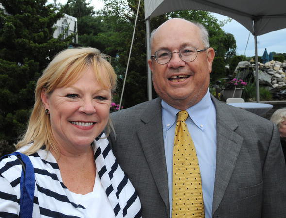 Danvers:<br /> Jo Broderick, left, was a former reporter at The Salem News, is with Nelson Benton at Nelson Benton's retirement party which was held at the Danvers Yatch Club.<br /> Photo by Ken Yuszkus/Salem News, Wednesday, June 27,  2012.