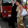 Salem:<br /> Joe Ruggiero and Ashley Maccario arrive at Salem High School before boarding the trolley along with their classmates to travel to their senior prom at the Sheraton Ferncroft (Crown Plaza Boston North). This popular tradition was started last year. <br /> Photo by Ken Yuszkus/Salem News, Friday, May 14, 2010.