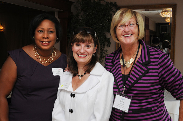 Danvers;<br /> From left, Cassandra Wilson of the North Shore Technology Council, Lisa Murray of the Murray Whalen Communications, and Bette Cullinan administrator of the North Shore Technology Council, attend the 10th anniversary celebration of the North Shore Technology Council held at the Danversport Yatch Club.<br /> Photo by Ken Yuszkus/The Salem News, Wednesday, September 12, 2012.