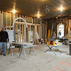 Swampscott:<br /> Steve Hayes is in the original two bay area of his Phillips Beach Fire Station which is now being transformed into his residence.<br /> Photo by Ken Yuszkus/Salem News, Tuesday,  November 30, 2010.